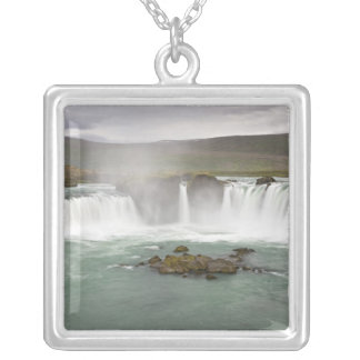 Iceland. View of Godafoss Falls on the Silver Plated Necklace