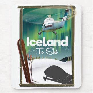Iceland vintage ski poster mouse mat