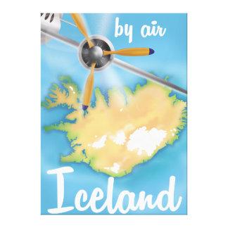 Iceland vintage travel flight poster canvas print
