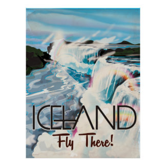 Iceland Vintage Travel Poster