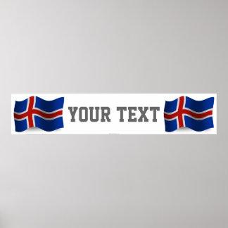 Iceland Waving Flag Banner Poster