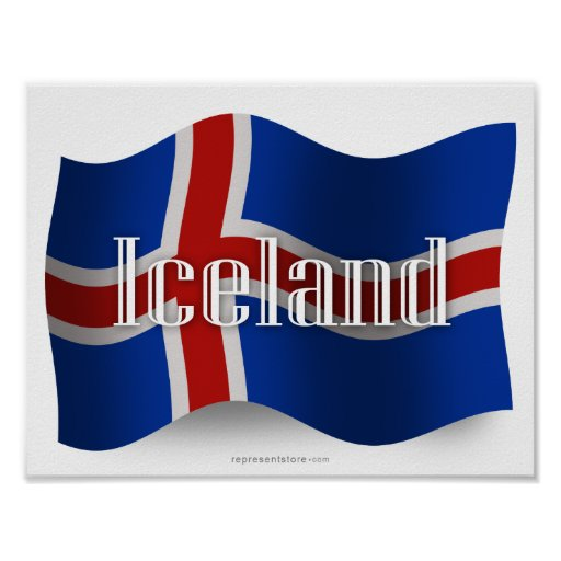 Iceland Waving Flag Posters