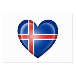 Icelandic Heart Flag on White Large Business Cards (Pack Of 100)