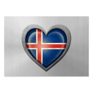 Icelandic Heart Flag Stainless Steel Effect Large Business Cards (Pack Of 100)