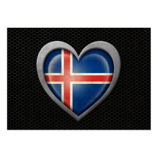 Icelandic Heart Flag Steel Mesh Effect Large Business Cards (Pack Of 100)