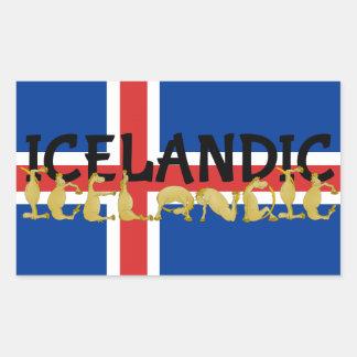 Icelandic Horse | Flag of Iceland Rectangular Sticker