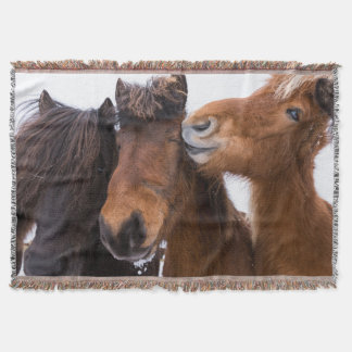 Icelandic Horse friends, Iceland Throw Blanket