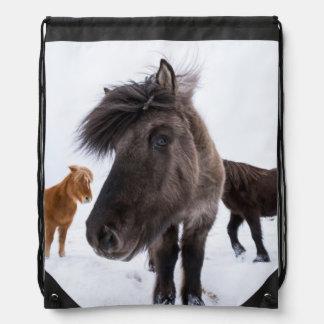 Icelandic Horse portrait, Iceland Drawstring Bag