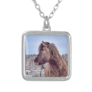 Icelandic Horse Power Silver Plated Necklace