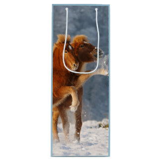 Icelandic horses foal playing in snow wine gift bag
