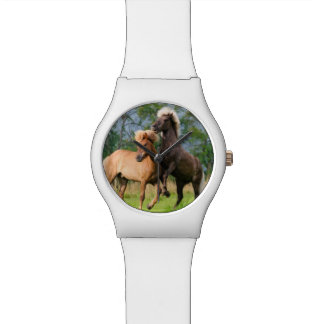 Icelandic Horses Funny Playing Rearing - unisex Watch