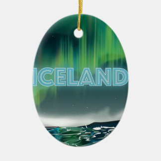 Icelandic Northern Lights Travel Art Christmas Ornament