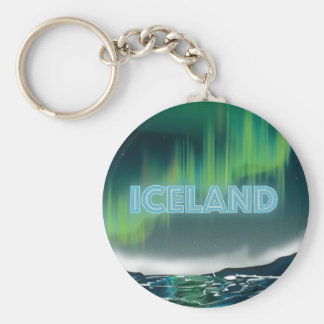 Icelandic Northern Lights Travel Art Key Ring