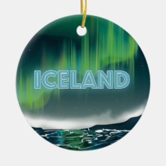 Icelandic Northern Lights Travel Poster. Christmas Ornament