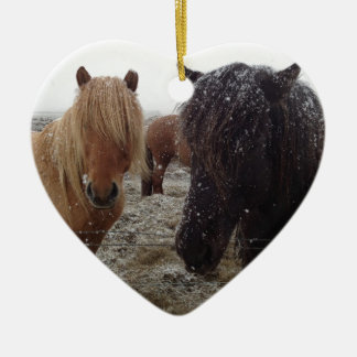Icelandic Ponies, Iceland horses in snow gifts Christmas Ornament
