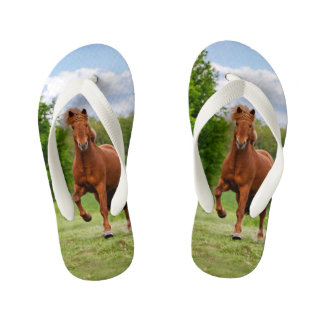 Icelandic Pony Tölt Funny Photo Horse Lovers  Kids Flip Flops