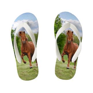 Icelandic Pony Tölt Funny Photo Horse Lovers  Kids Kid's Flip Flops