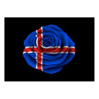 Icelandic Rose Flag on Black Large Business Cards (Pack Of 100)