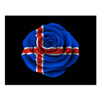 Icelandic Rose Flag on Black Postcard