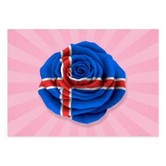 Icelandic Rose Flag on Pink Large Business Cards (Pack Of 100)