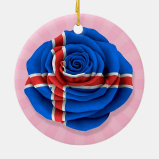 Icelandic Rose Flag on Pink Christmas Ornament