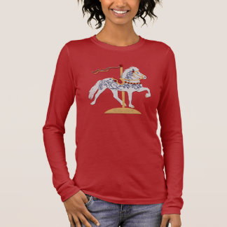 Icelandic Rose Scroll Carousel Horse Long Sleeve T-Shirt