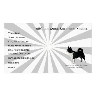 Icelandic Sheepdog on Gray Starburst Pack Of Standard Business Cards