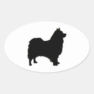 icelandic sheepdog silhouette oval sticker