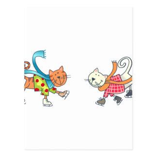 ICESKATING CATS POSTCARD