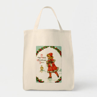 Iceskating child grocery tote bag