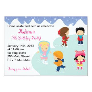 Iceskating Kids Birthday Party Invitations