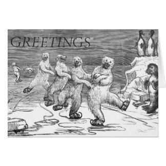 ICESKATING POLAR BEARS GREETING CARD