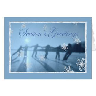 Iceskating With Snow Christmas, Blue Greeting Card