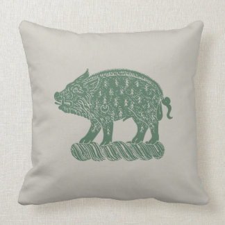 Ich Dien Medieval Porcine Throw Pillow