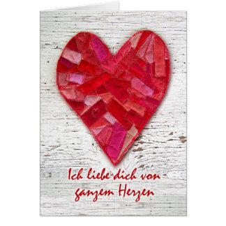 Ich liebe dich, German Language Valentine, Heart Greeting Card