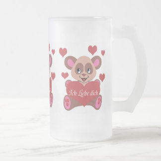 Ich Liebe Dich Frosted Glass Mug