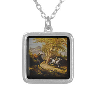 Ichabod Crane Chased by Headless Horseman Square Pendant Necklace
