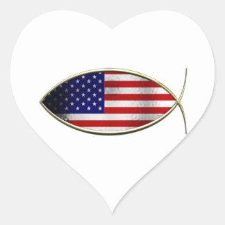 Ichthus - American Flag Heart Sticker