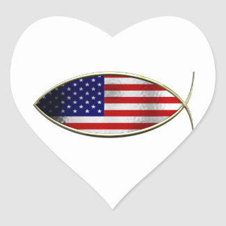 Ichthus - American Flag Stickers