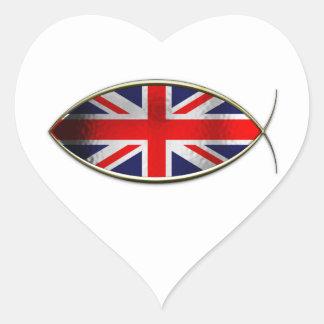 Ichthus - British Flag Heart Sticker