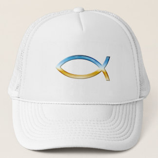 Ichthus - Christian Fish Symbol  Sky & Ground Trucker Hat