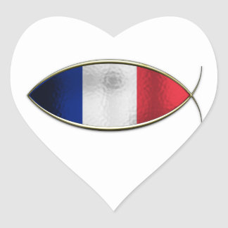 Ichthus - French Flag Heart Sticker