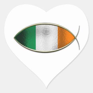 Ichthus - Irish Flag Heart Stickers