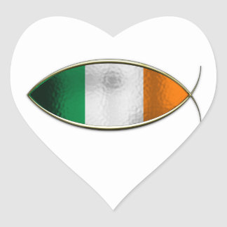 Ichthus - Irish Flag Heart Sticker