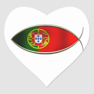 Ichthus - Portugese Flag Heart Stickers