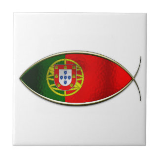 Ichthus - Portugese Flag Small Square Tile