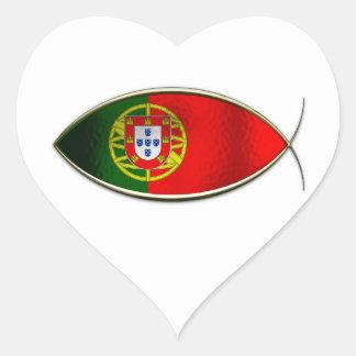 Ichthus - Portugese Flag Heart Sticker