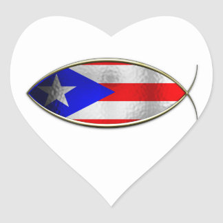 Ichthus - Puerto Rican Flag Stickers