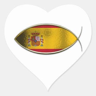 Ichthus - Spanish Flag Heart Sticker