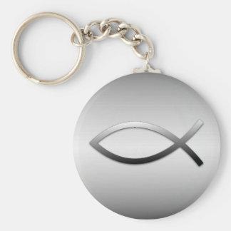 Ichthys Jesus Fish Christian Symbol Basic Round Button Key Ring